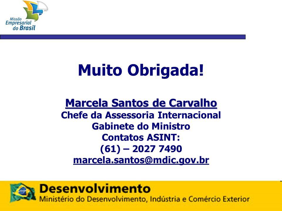 Muito Obrigada! Marcela Santos de Carvalho Chefe da Assessoria Internacional Gabinete do Ministro Contatos ASINT: (61) – 2027 7490 marcela.santos@mdic