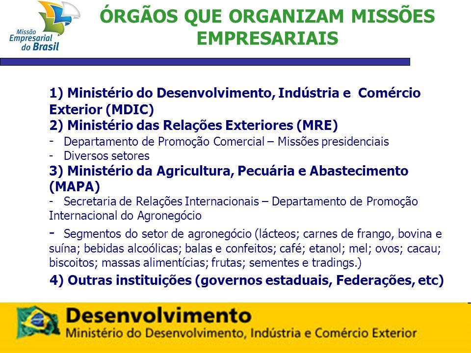 MISSÕES MDIC REALIZADAS – 2009 Chefiadas pelos Secretários do MDIC: 1) Missão ao Chile 2) Missão à São Tomé 3) Missão à Turquia,Uzbequistão e Cazaquistão 4) Missão à Serra Leoa 5) Missão ao Leste Europeu ( Polônia, Hungria, e República Checa)