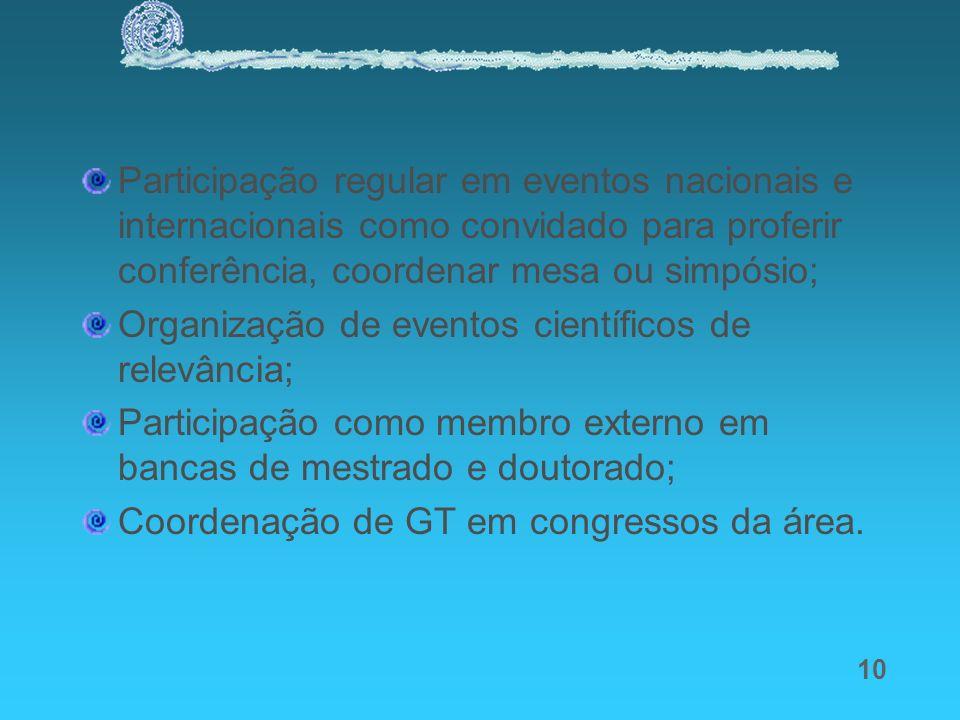 10 Participação regular em eventos nacionais e internacionais como convidado para proferir conferência, coordenar mesa ou simpósio; Organização de eve