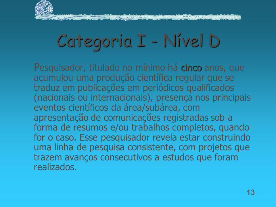13 Categoria I - Nível D cinco P esquisador, titulado no mínimo há cinco anos, que acumulou uma produção científica regular que se traduz em publicaçõ