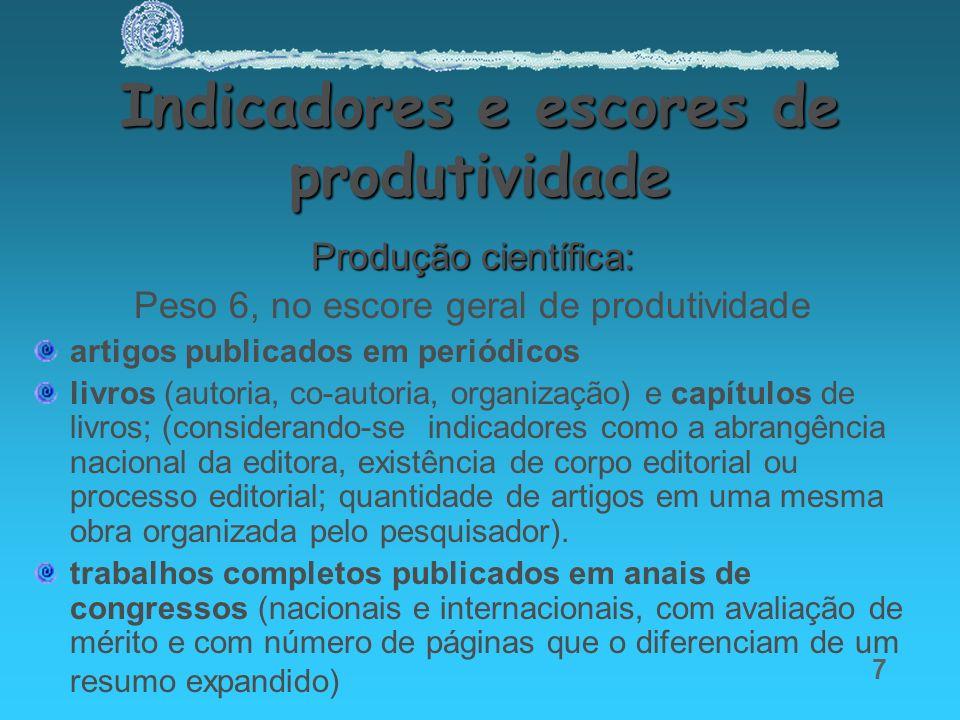 7 Indicadores e escores de produtividade Produção científica: Peso 6, no escore geral de produtividade artigos publicados em periódicos livros (autori