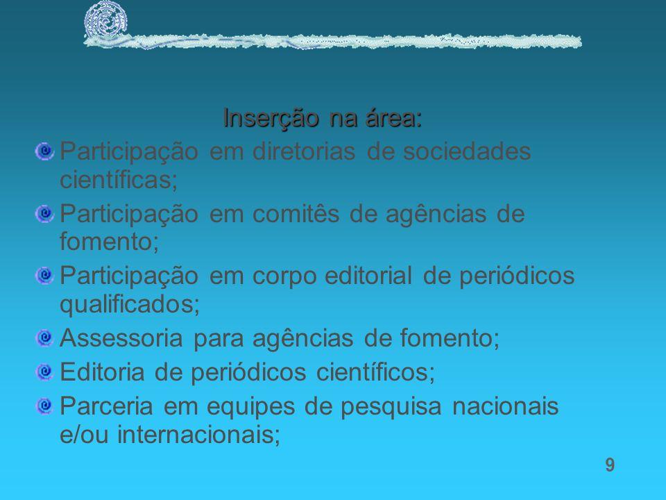 9 Inserção na área: Participação em diretorias de sociedades científicas; Participação em comitês de agências de fomento; Participação em corpo editor