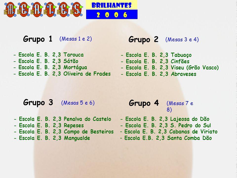 BRILHANTES 2 0 0 6 Grupo 1 (Mesas 1 e 2) - Escola E. B. 2,3 Tarouca - Escola E. B. 2,3 Sátão - Escola E. B. 2,3 Mortágua - Escola E. B. 2,3 Oliveira d