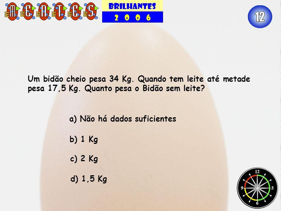 BRILHANTES 2 0 0 6 12 3 6 9 Um bidão cheio pesa 34 Kg. Quando tem leite até metade pesa 17,5 Kg. Quanto pesa o Bidão sem leite? a) Não há dados sufici