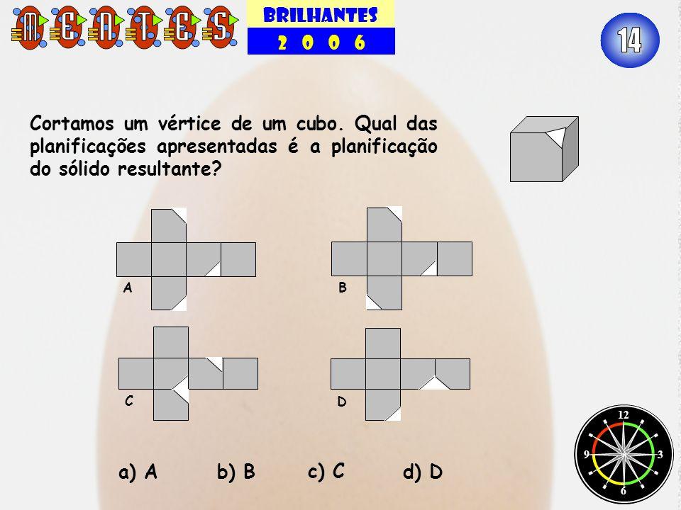 BRILHANTES 2 0 0 6 12 3 6 9 Cortamos um vértice de um cubo. Qual das planificações apresentadas é a planificação do sólido resultante? a) A b) Bd) D c
