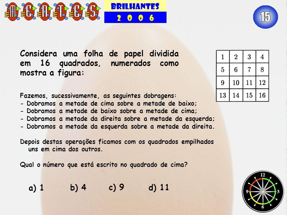 BRILHANTES 2 0 0 6 12 3 6 9 Considera uma folha de papel dividida em 16 quadrados, numerados como mostra a figura: a) 1 b) 4d) 11 c) 9 Fazemos, sucess