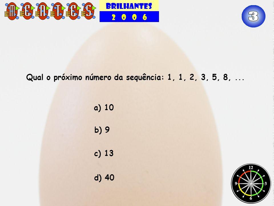 BRILHANTES 2 0 0 6 12 3 6 9 Qual o próximo número da sequência: 1, 1, 2, 3, 5, 8,... b) 9 c) 13 a) 10 d) 40