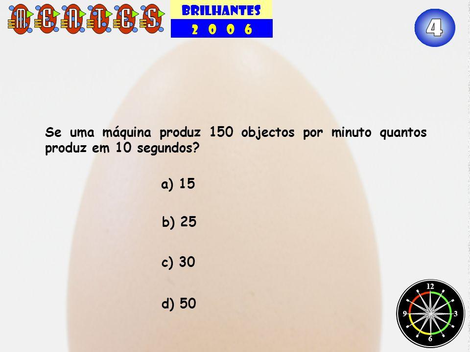 BRILHANTES 2 0 0 6 12 3 6 9 Se uma máquina produz 150 objectos por minuto quantos produz em 10 segundos? b) 25 c) 30 a) 15 d) 50