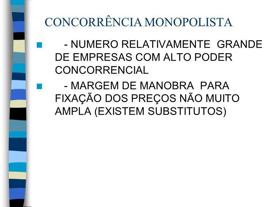 CONCORRÊNCIA MONOPOLISTA n - NUMERO RELATIVAMENTE GRANDE DE EMPRESAS COM ALTO PODER CONCORRENCIAL n - MARGEM DE MANOBRA PARA FIXAÇÃO DOS PREÇOS NÃO MU