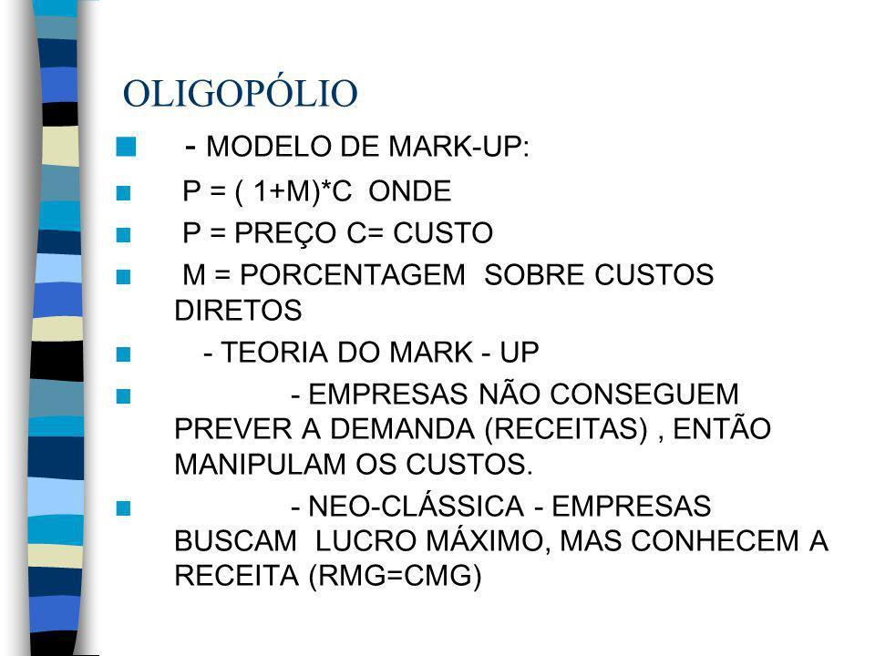 OLIGOPÓLIO n - MODELO DE MARK-UP: n P = ( 1+M)*C ONDE n P = PREÇO C= CUSTO n M = PORCENTAGEM SOBRE CUSTOS DIRETOS n - TEORIA DO MARK - UP n - EMPRESAS