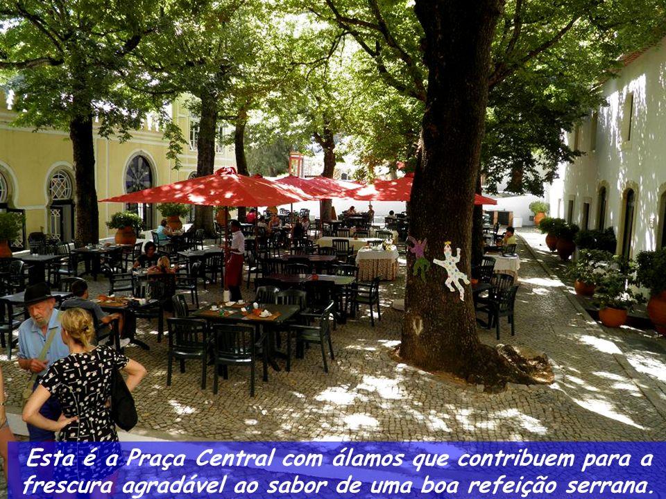 Esta é a Praça Central com álamos que contribuem para a frescura agradável ao sabor de uma boa refeição serrana.