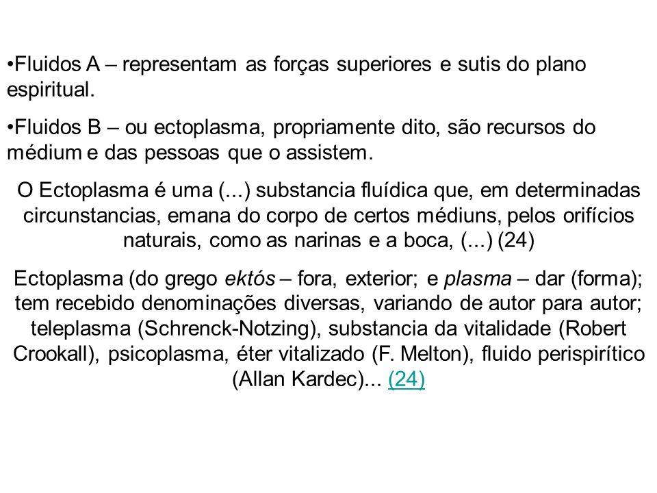 Fluidos A – representam as forças superiores e sutis do plano espiritual. Fluidos B – ou ectoplasma, propriamente dito, são recursos do médium e das p