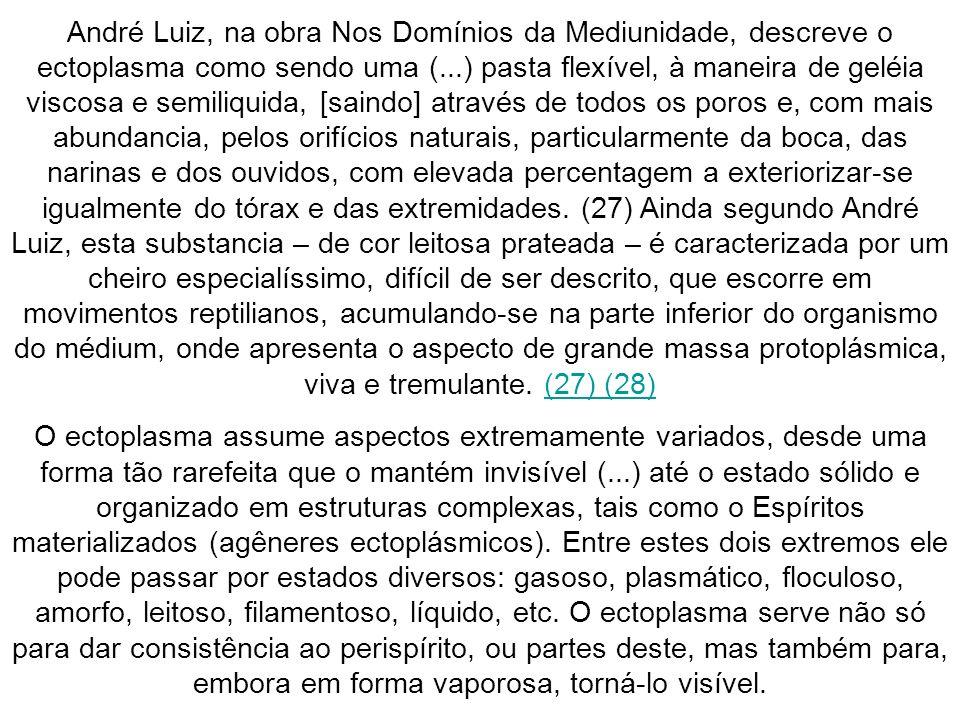 André Luiz, na obra Nos Domínios da Mediunidade, descreve o ectoplasma como sendo uma (...) pasta flexível, à maneira de geléia viscosa e semiliquida,