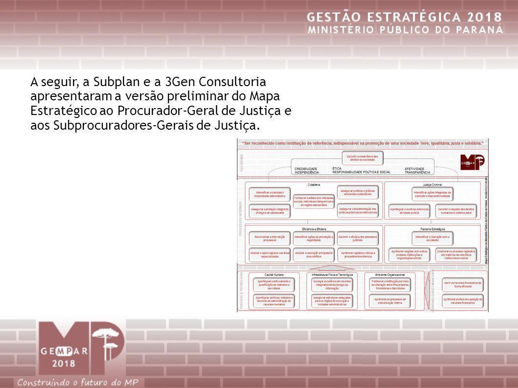 A seguir, a Subplan e a 3Gen Consultoria apresentaram a versão preliminar do Mapa Estratégico ao Procurador-Geral de Justiça e aos Subprocuradores-Ger