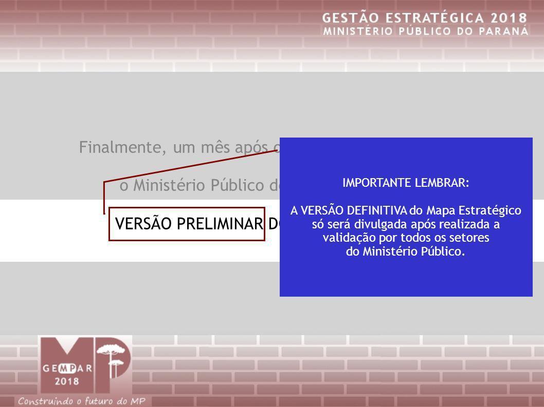 Finalmente, um mês após o Alinhamento Estratégico, o Ministério Público do Paraná já tem uma VERSÃO PRELIMINAR DO MAPA ESTRATÉGICO IMPORTANTE LEMBRAR: