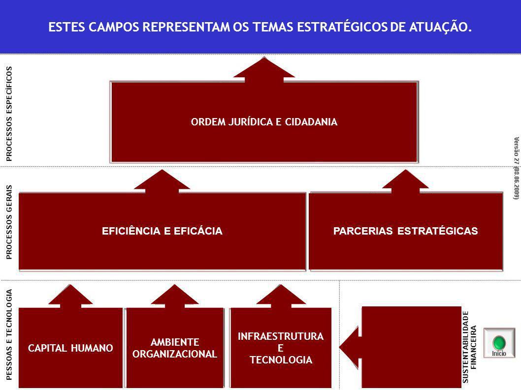 ORDEM JURÍDICA E CIDADANIA EFICIÊNCIA E EFICÁCIAPARCERIAS ESTRATÉGICAS CAPITAL HUMANO AMBIENTE ORGANIZACIONAL INFRAESTRUTURA E TECNOLOGIA ESTES CAMPOS