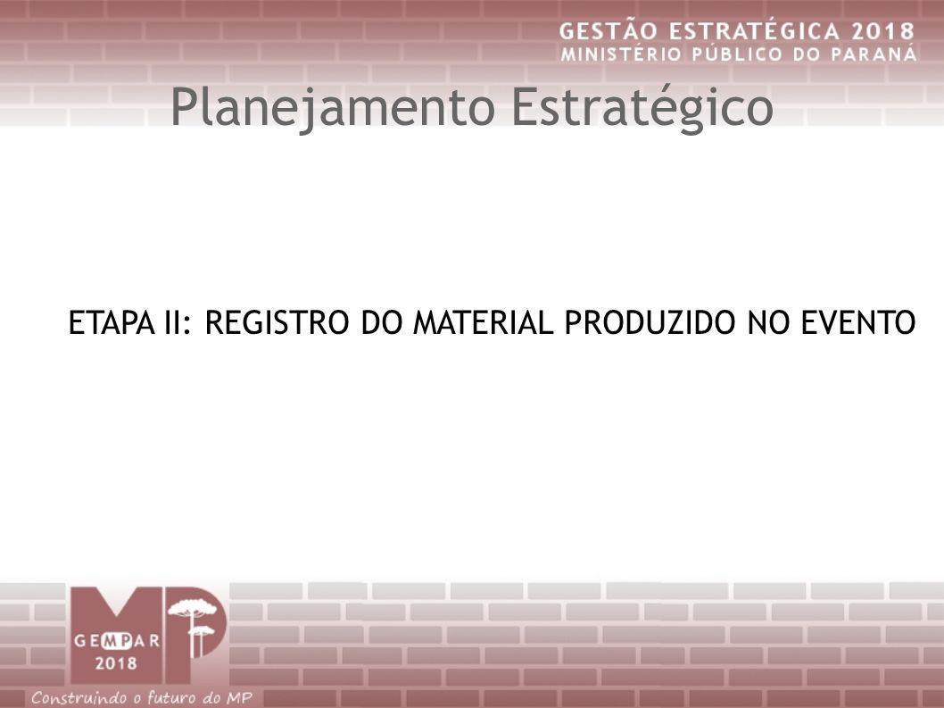 Planejamento Estratégico ETAPA II: REGISTRO DO MATERIAL PRODUZIDO NO EVENTO