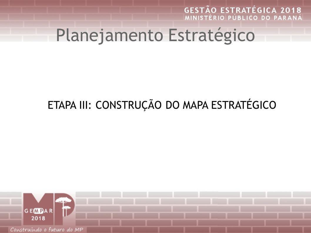 Planejamento Estratégico ETAPA III: CONSTRUÇÃO DO MAPA ESTRATÉGICO