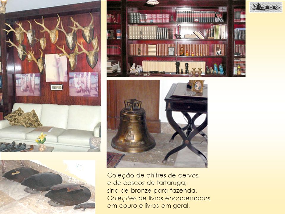 Coleção de chifres de cervos e de cascos de tartaruga; sino de bronze para fazenda. Coleções de livros encadernados em couro e livros em geral.