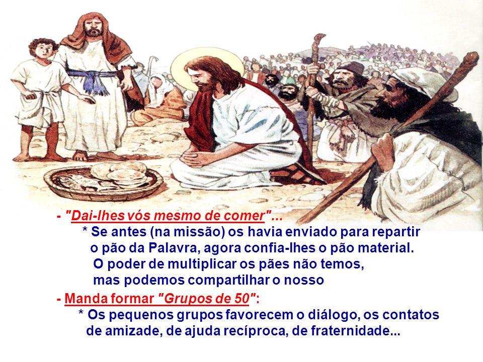 No Evangelho, São Lucas fala da Multiplicação dos Pães.