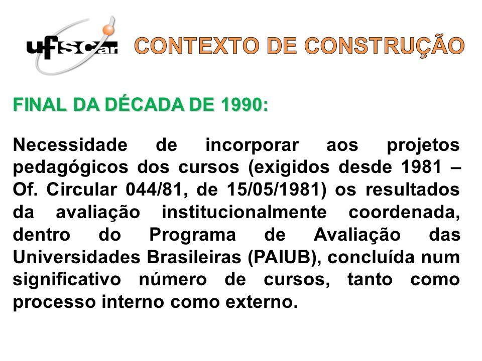 FINAL DA DÉCADA DE 1990: Necessidade de incorporar aos projetos pedagógicos dos cursos (exigidos desde 1981 – Of. Circular 044/81, de 15/05/1981) os r