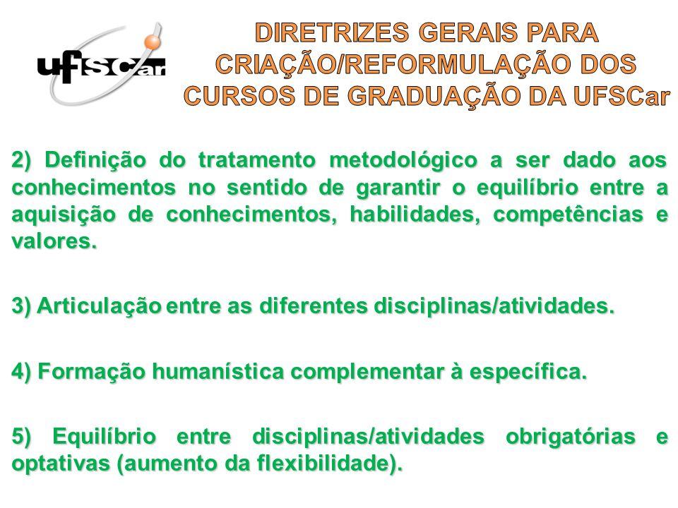 2) Definição do tratamento metodológico a ser dado aos conhecimentos no sentido de garantir o equilíbrio entre a aquisição de conhecimentos, habilidad