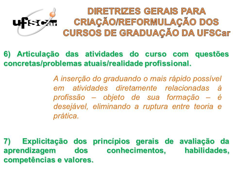 6) Articulação das atividades do curso com questões concretas/problemas atuais/realidade profissional. 7) Explicitação dos princípios gerais de avalia