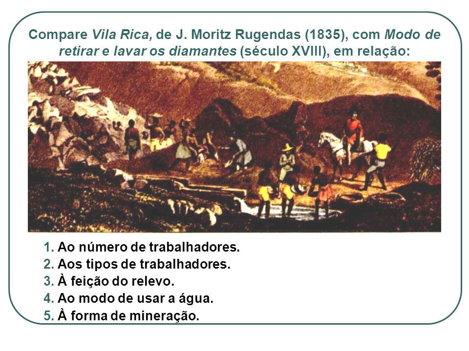 Compare Vila Rica, de J. Moritz Rugendas (1835), com Modo de retirar e lavar os diamantes (século XVIII), em relação: 1. Ao número de trabalhadores. 2
