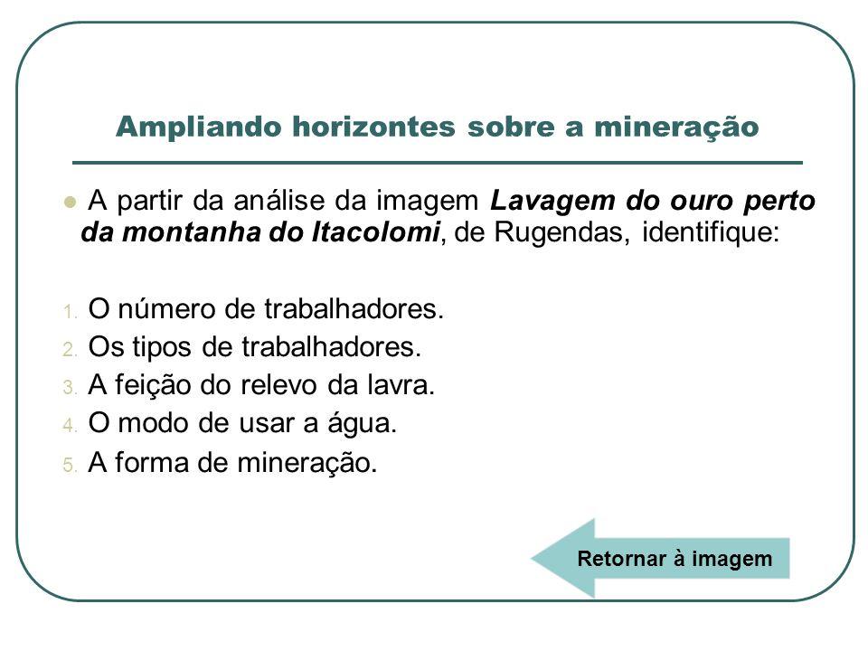 A partir da análise da imagem Lavagem do ouro perto da montanha do Itacolomi, de Rugendas, identifique: 1. O número de trabalhadores. 2. Os tipos de t