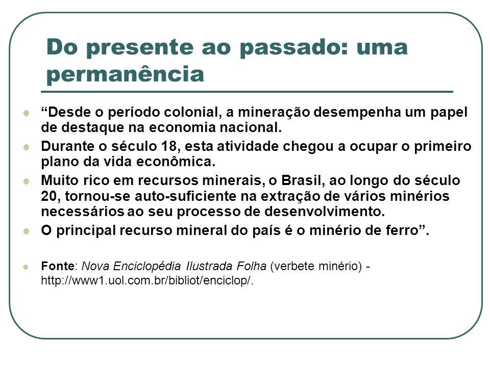 Do presente ao passado: uma permanência Desde o período colonial, a mineração desempenha um papel de destaque na economia nacional. Durante o século 1