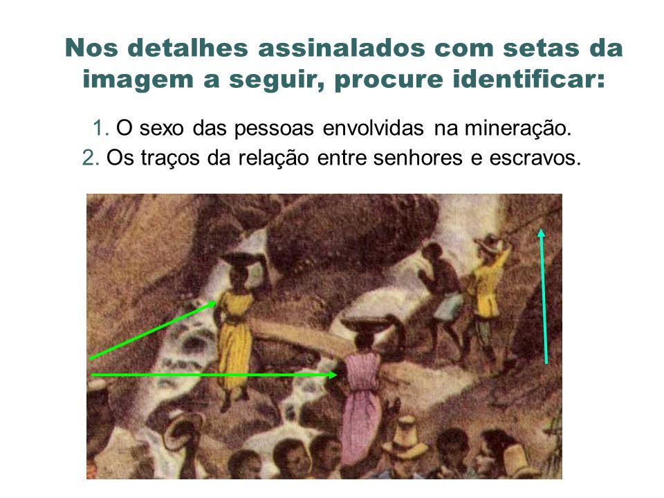 Nos detalhes assinalados com setas da imagem a seguir, procure identificar: 1. O sexo das pessoas envolvidas na mineração. 2. Os traços da relação ent