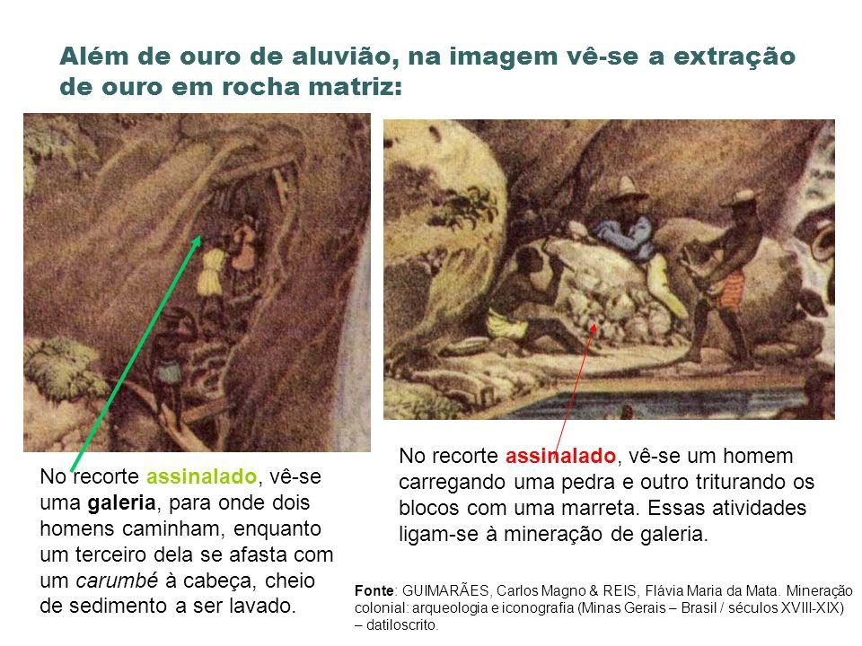 Além de ouro de aluvião, na imagem vê-se a extração de ouro em rocha matriz: No recorte assinalado, vê-se uma galeria, para onde dois homens caminham,