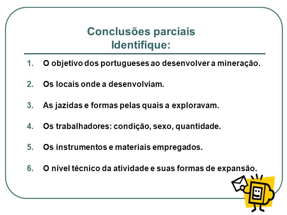 Conclusões parciais Identifique: 1.O objetivo dos portugueses ao desenvolver a mineração. 2.Os locais onde a desenvolviam. 3.As jazidas e formas pelas