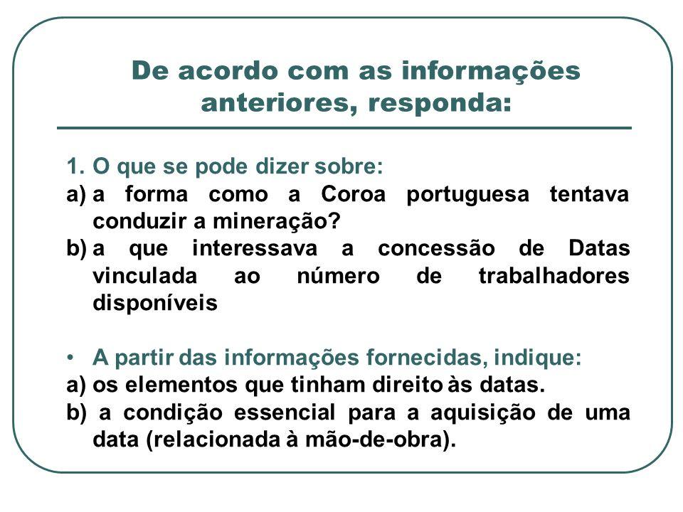 1.O que se pode dizer sobre: a)a forma como a Coroa portuguesa tentava conduzir a mineração? b)a que interessava a concessão de Datas vinculada ao núm
