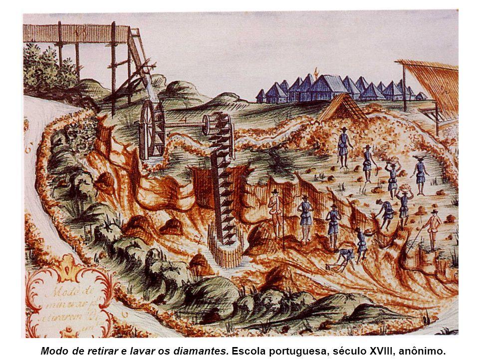 Observe agora a Lavagem do ouro perto da montanha do Itacolomi, de J.