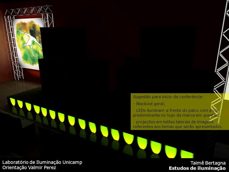 Laboratório de Iluminação Unicamp Orientação Valmir Perez Taimê Bertagna Estudos de iluminação Sugestão para início da conferência: - Blackout geral; - LEDs iluminam a frente do palco com a cor predominante no logo da marca em questão; - projeções em telões laterais de imagens referentes aos temas que serão apresentados.