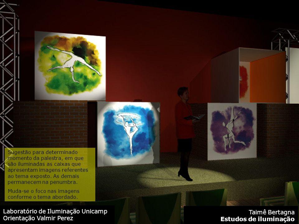Laboratório de Iluminação Unicamp Orientação Valmir Perez Taimê Bertagna Estudos de iluminação Sugestão para determinado momento da palestra, em que são iluminadas as caixas que apresentam imagens referentes ao tema exposto.