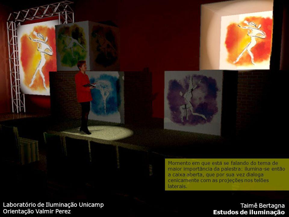 Laboratório de Iluminação Unicamp Orientação Valmir Perez Taimê Bertagna Estudos de iluminação Momento em que está se falando do tema de maior importância da palestra: ilumina-se então a caixa aberta, que por sua vez dialoga cenicamente com as projeções nos telões laterais.