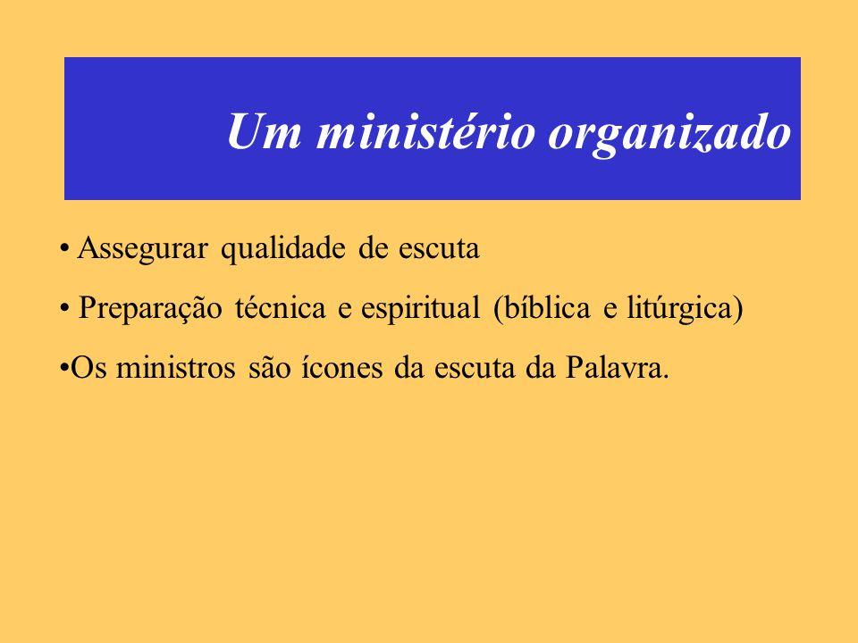 Um ministério organizado Assegurar qualidade de escuta Preparação técnica e espiritual (bíblica e litúrgica) Os ministros são ícones da escuta da Pala