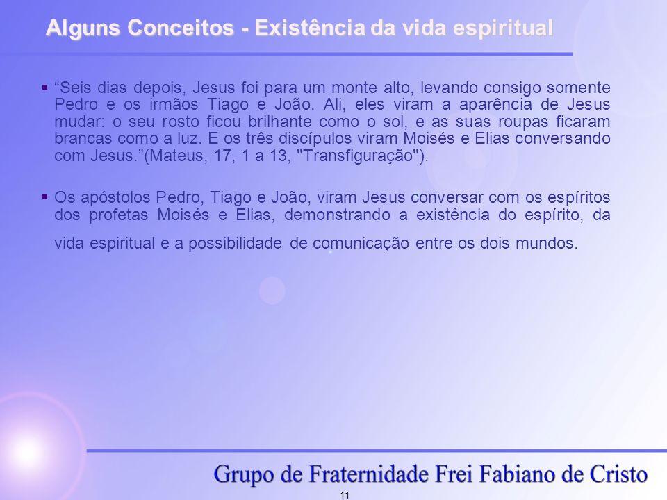 11 Alguns Conceitos - Existência da vida espiritual Seis dias depois, Jesus foi para um monte alto, levando consigo somente Pedro e os irmãos Tiago e