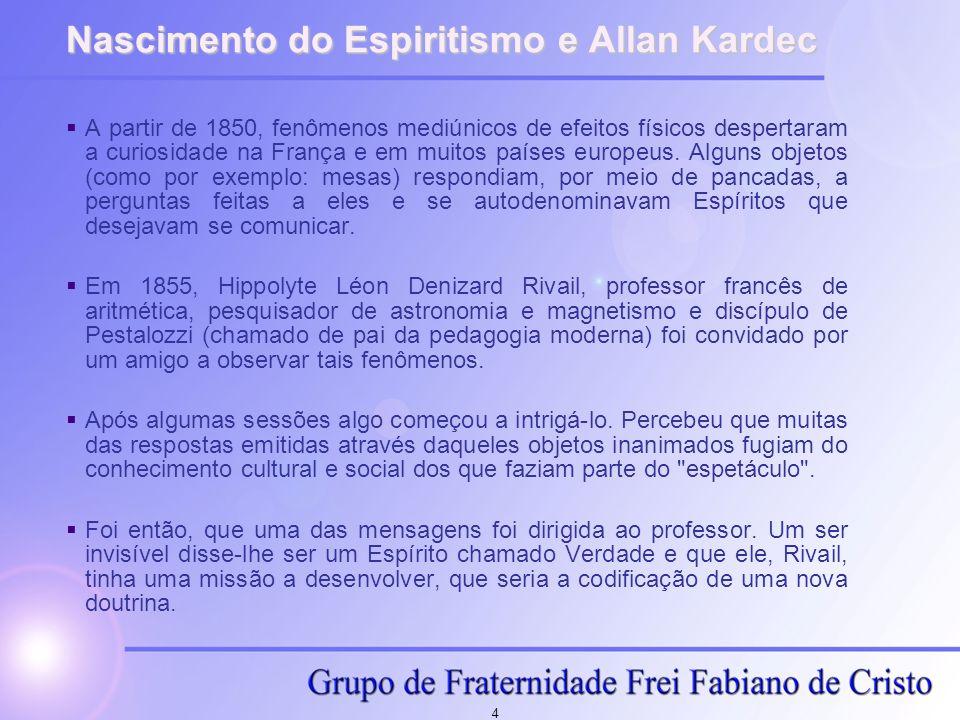 4 Nascimento do Espiritismo e Allan Kardec A partir de 1850, fenômenos mediúnicos de efeitos físicos despertaram a curiosidade na França e em muitos p