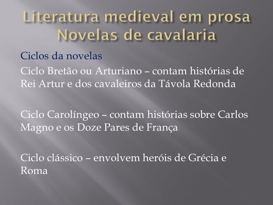 Ciclos da novelas Ciclo Bretão ou Arturiano – contam histórias de Rei Artur e dos cavaleiros da Távola Redonda Ciclo Carolíngeo – contam histórias sob