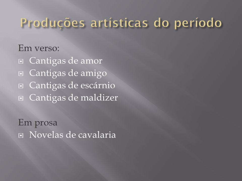 Em verso: Cantigas de amor Cantigas de amigo Cantigas de escárnio Cantigas de maldizer Em prosa Novelas de cavalaria