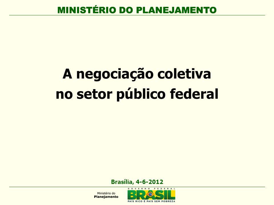 MINISTÉRIO DO PLANEJAMENTO A negociação coletiva no setor público federal MINISTÉRIO DO PLANEJAMENTO Brasília, 4-6-2012