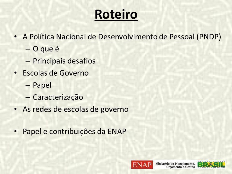 Roteiro A Política Nacional de Desenvolvimento de Pessoal (PNDP) – O que é – Principais desafios Escolas de Governo – Papel – Caracterização As redes de escolas de governo Papel e contribuições da ENAP