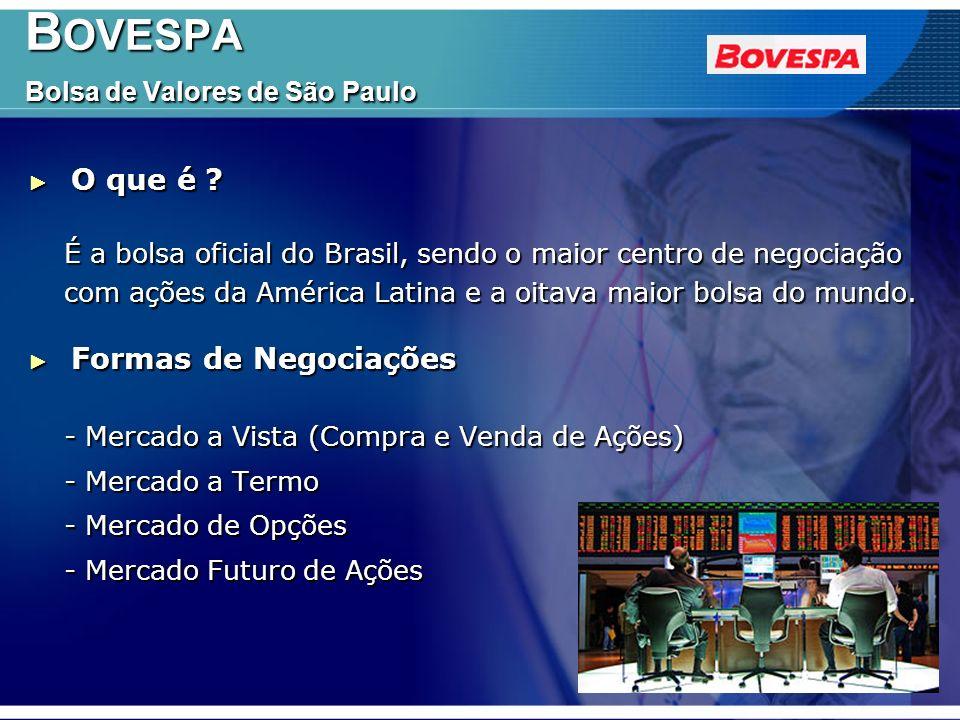 B OVESPA Bolsa de Valores de São Paulo B OVESPA Bolsa de Valores de São Paulo Fatos Fatos - Pioneira na introdução de operações com opções no Brasil.