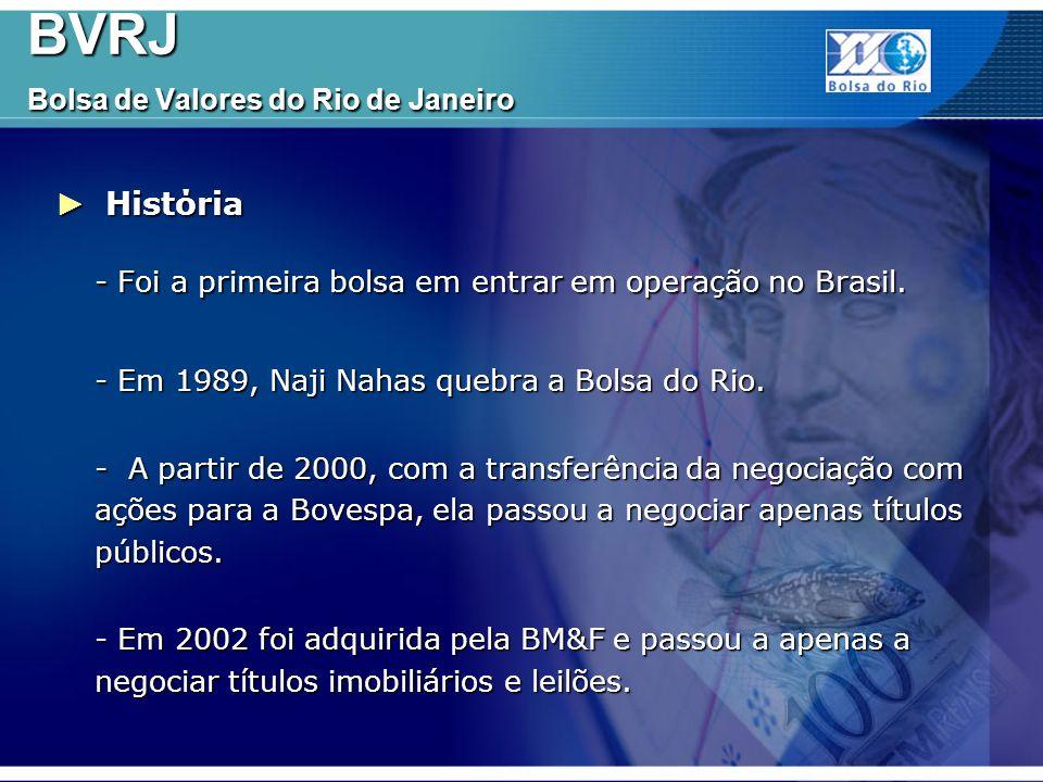 Algumas ações que eram negociadas na BVRJ Algumas ações que eram negociadas na BVRJ BVRJ Bolsa de Valores do Rio de Janeiro BVRJ Bolsa de Valores do Rio de Janeiro