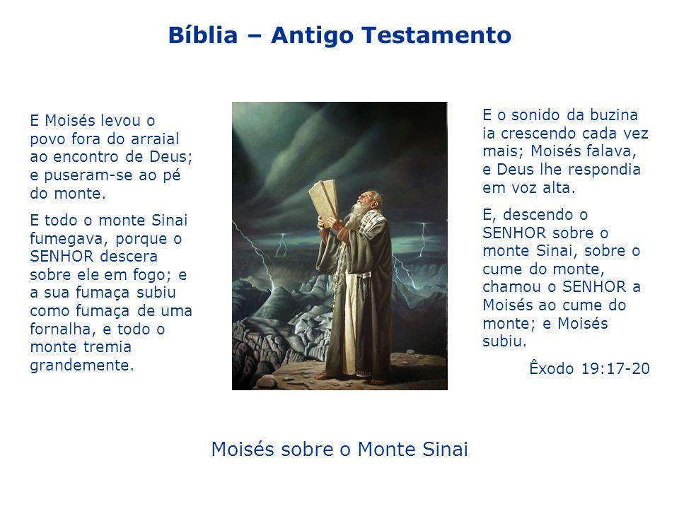 Moisés sobre o Monte Sinai E o sonido da buzina ia crescendo cada vez mais; Moisés falava, e Deus lhe respondia em voz alta.