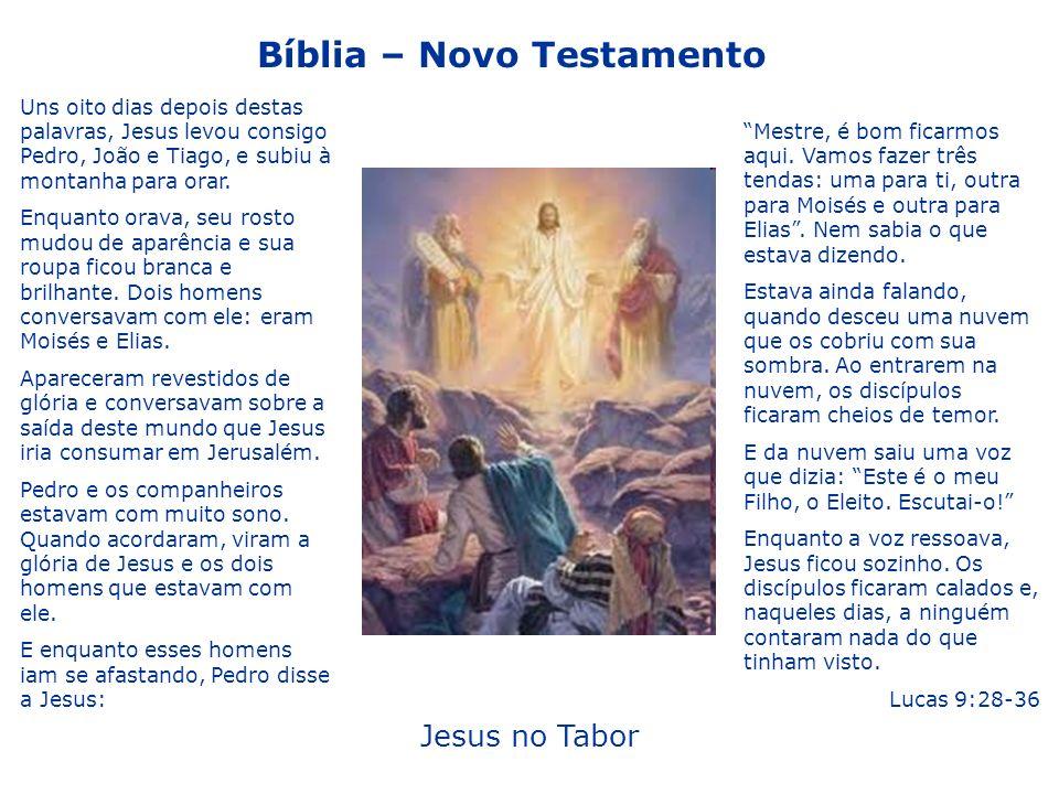 Bíblia – Novo Testamento Jesus no Tabor Mestre, é bom ficarmos aqui. Vamos fazer três tendas: uma para ti, outra para Moisés e outra para Elias. Nem s