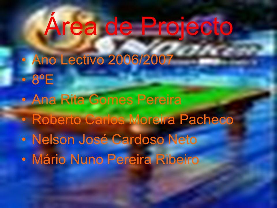 Área de Projecto Ano Lectivo 2006/2007 8ºE Ana Rita Gomes Pereira Roberto Carlos Moreira Pacheco Nelson José Cardoso Neto Mário Nuno Pereira Ribeiro